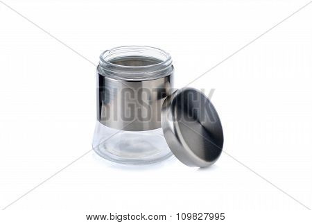 Glass Jar With Lid For Sugar, Salt And Else On White Background