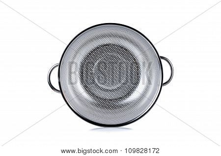 Stainless Colander With Bail On White Background