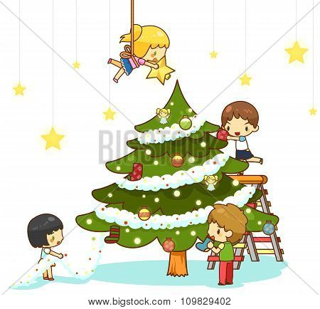 Kids Children With Boy And Girl Friends Are Decorating Giant Christmas Tree With Ornaments Toy Rainb