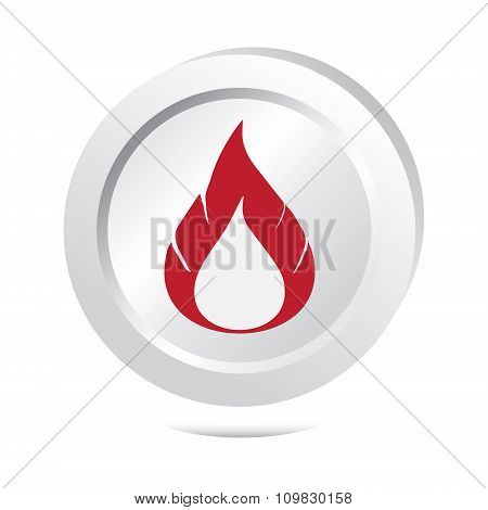 Flame Sign Button Icon