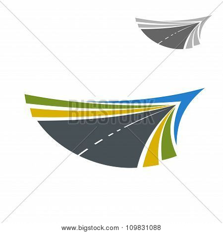 Road abstract icon with flowing lines