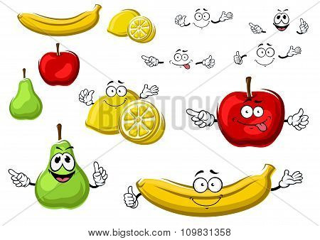 Cartoon apple, lemon, banana, pear fruits