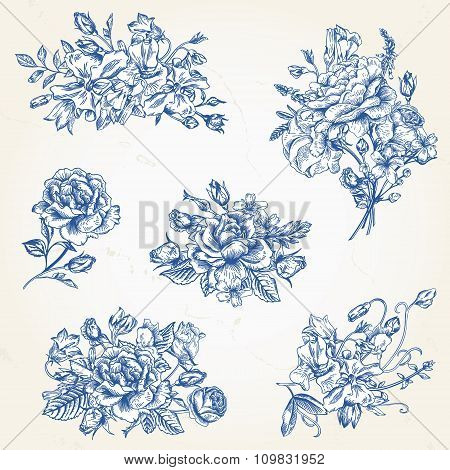 Set Of  Floral Design Elements.