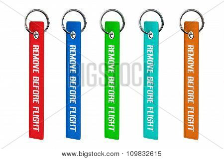 Multicolour Remove Before Flight Tags