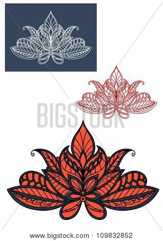 Red lace indian flower with paisley pattern