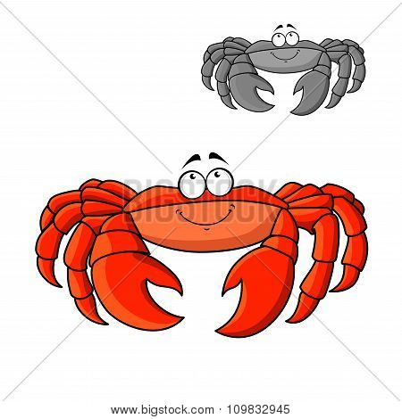Cartoon smiling red crab with big claws