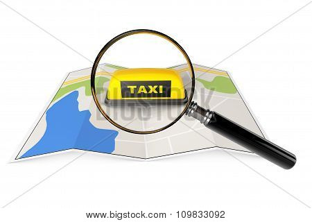 Taxi Sign With Magnifier Over Map