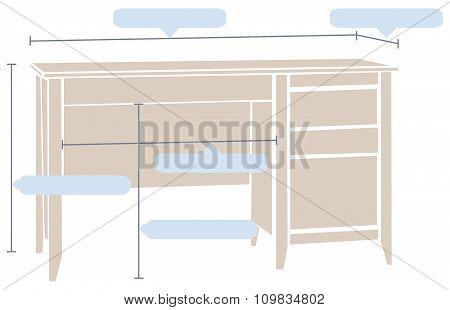 Office Table With The Basic Dimensions