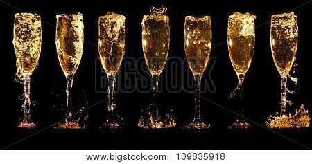 Glasses of champagne collage with splashes and bubbles on black background