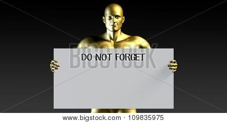 Do Not Forget with a Man Holding Placard Poster Template