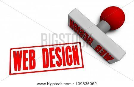 Web Design Stamp or Chop on Paper Concept in 3d