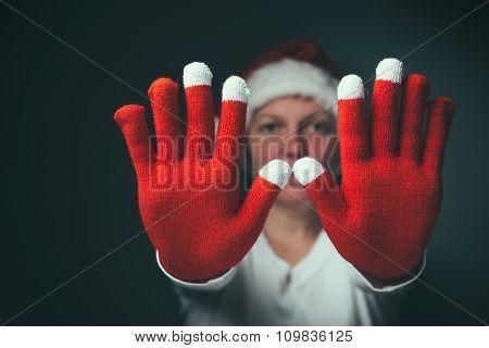 Beautiful Woman In Santa Claus Costume