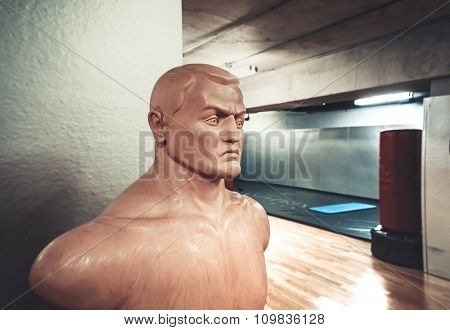Sports mannequin in Empty hall for boxing in the gym