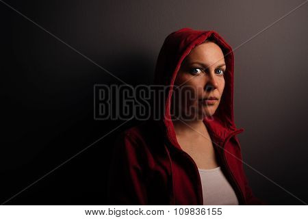 Beautiful Red Hooded Young Adult Woman Portrait