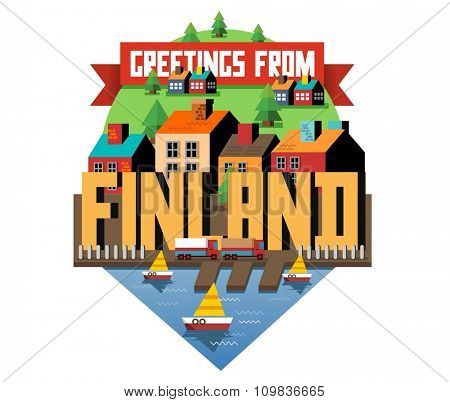 Finland in europe is a beautiful country to visit. vintage vector illustration.