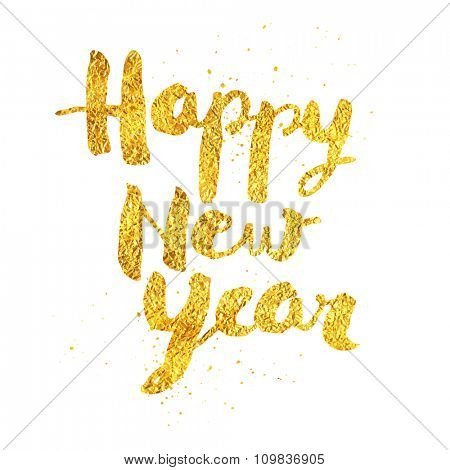 Happy New Year greeting card with gold texture - No mesh -  EPS10