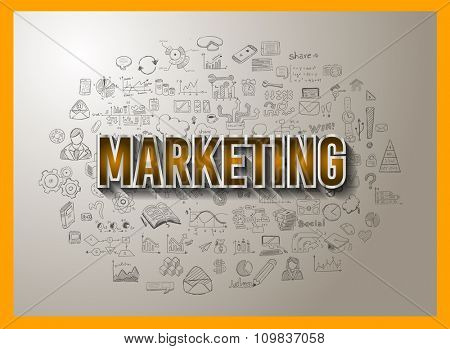 Marketing Concept with Doodle design style :finding solution, brainstorming, creative thinking. Modern style illustration for web banners, brochure and flyers.