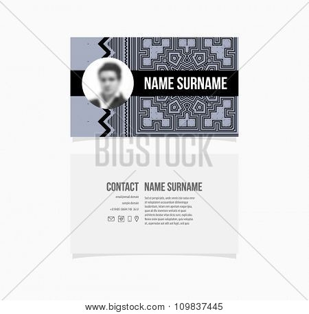 Business Card Template. Geometric Pattern Background