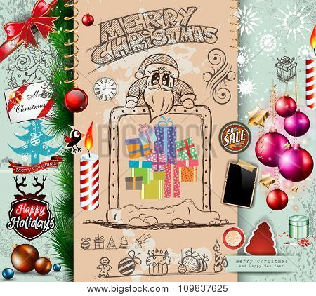 Collection of Christmas Elements doodles with different styles. Hand draws Santa's sketch, Merry Christmas Lettering, Baubles, Balls, Snowflakes, Gift Boxes, Tree leaves and labels