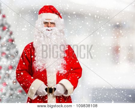 Portrait of Santa Claus. Bright background