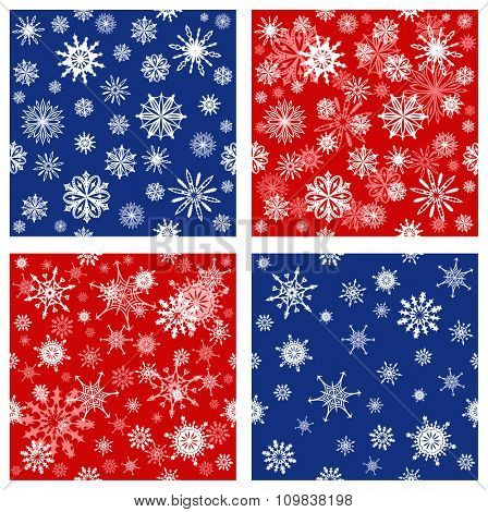 Collection of seamless backgrounds with snowflakes of different colors. Endless texture can be used for winter or Christmas design, wallpaper, pattern fills, web page background, surface textures