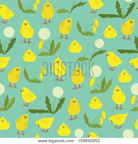 Seamless Pattern With Little Chicks And Dandelions