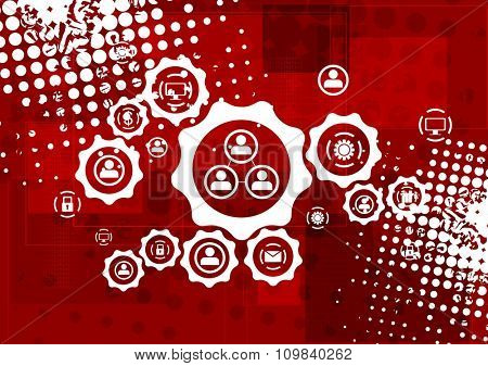 Red grunge hi-tech background with communication icons on gears. Vector design