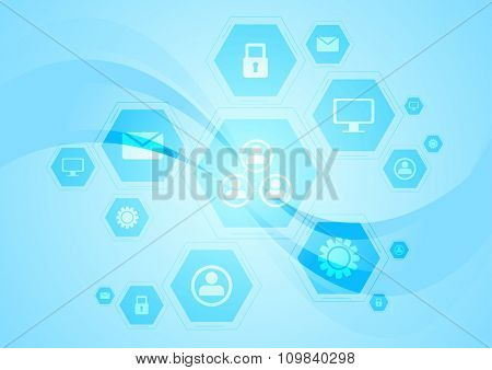 Blue hi-tech wavy background. Vector design