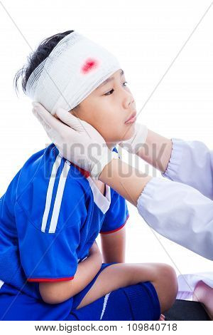 Sports Injury. Doctor Makes A Bandage On Head Patient, On White.