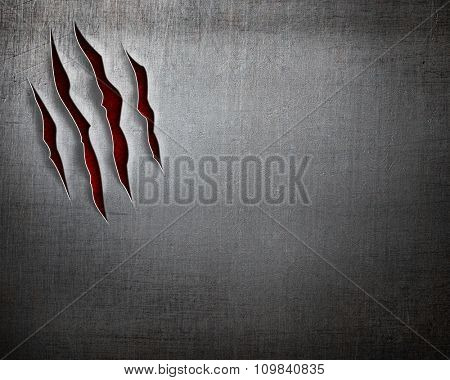beast claw cuts on metal background