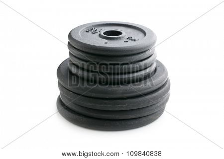 Dumbbell weight on white background