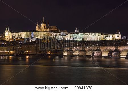 Prague Panorama, Prague Castle And Charles Bridge