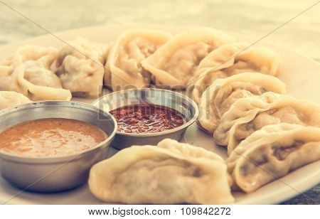 Plate of traditional momos.
