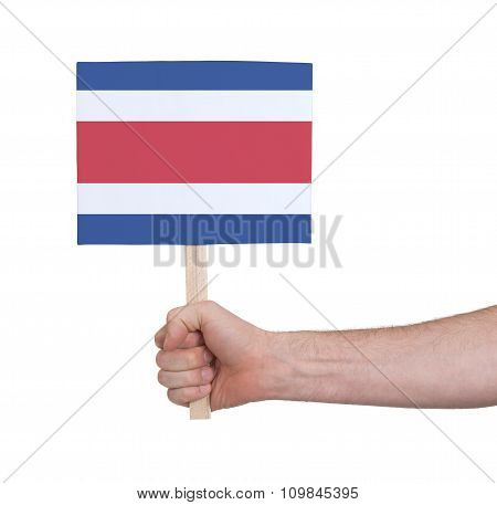 Hand Holding Small Card - Flag Of Costa Rica