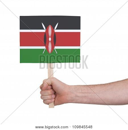 Hand Holding Small Card - Flag Of Kenya