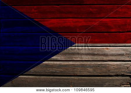 Flag of Czechoslovakia on wood