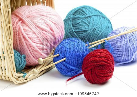 Colorful Yarn Balls Falling On White Background