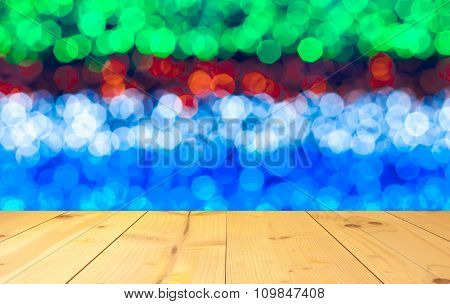 Blurred Of Colorful Of Bokeh With Wood Terrace Texture