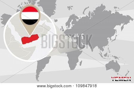 World Map With Magnified Yemen