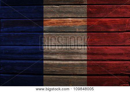 Flag of France on wood