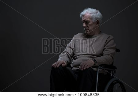 Disabled And Lonely Old Man