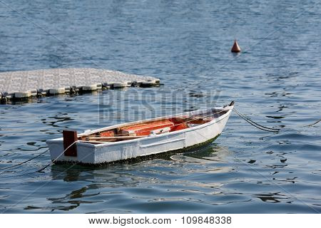 Small Wooden Boat In A Marina In Kotor Bay, Montenegro