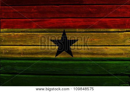 Flag of Ghana on wood
