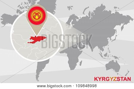 World Map With Magnified Kyrgyzstan