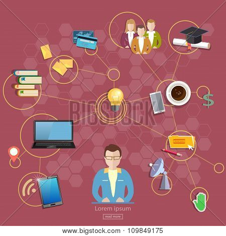 Social Network And Teamwork Concept Communication And Learning Vector Illustration