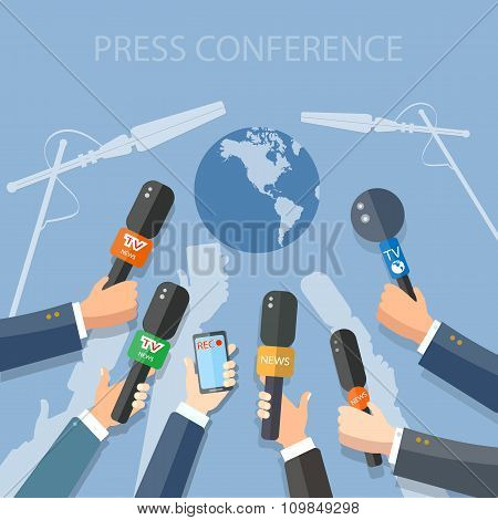 World Live News Report Press Hands Of Journalists With Microphones