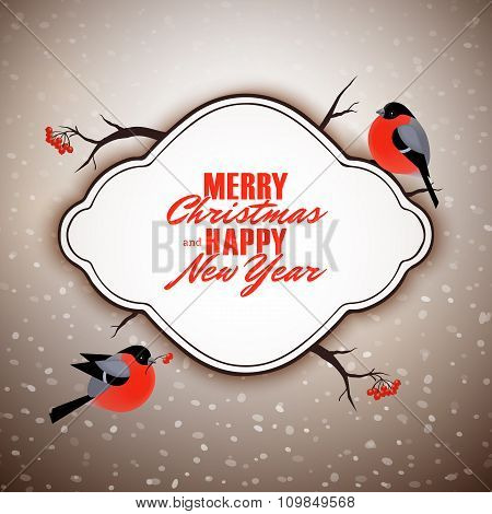 Merry Christmas And Happy New Year Vector Postcard Design, Cute Bullfinches Birds, Snow Background