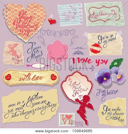 Set Of Vintage Papers And Labels, Heart, Calligraphic Texts For Valentines Day Design.