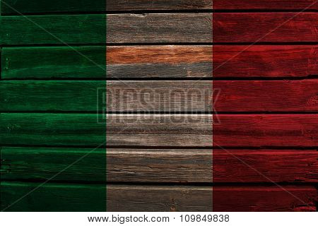 Flag of Italy on wood