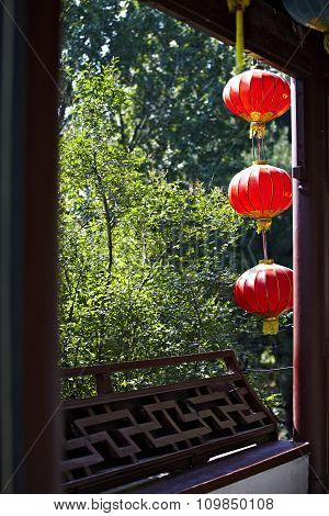 China Window And Red Lamp
